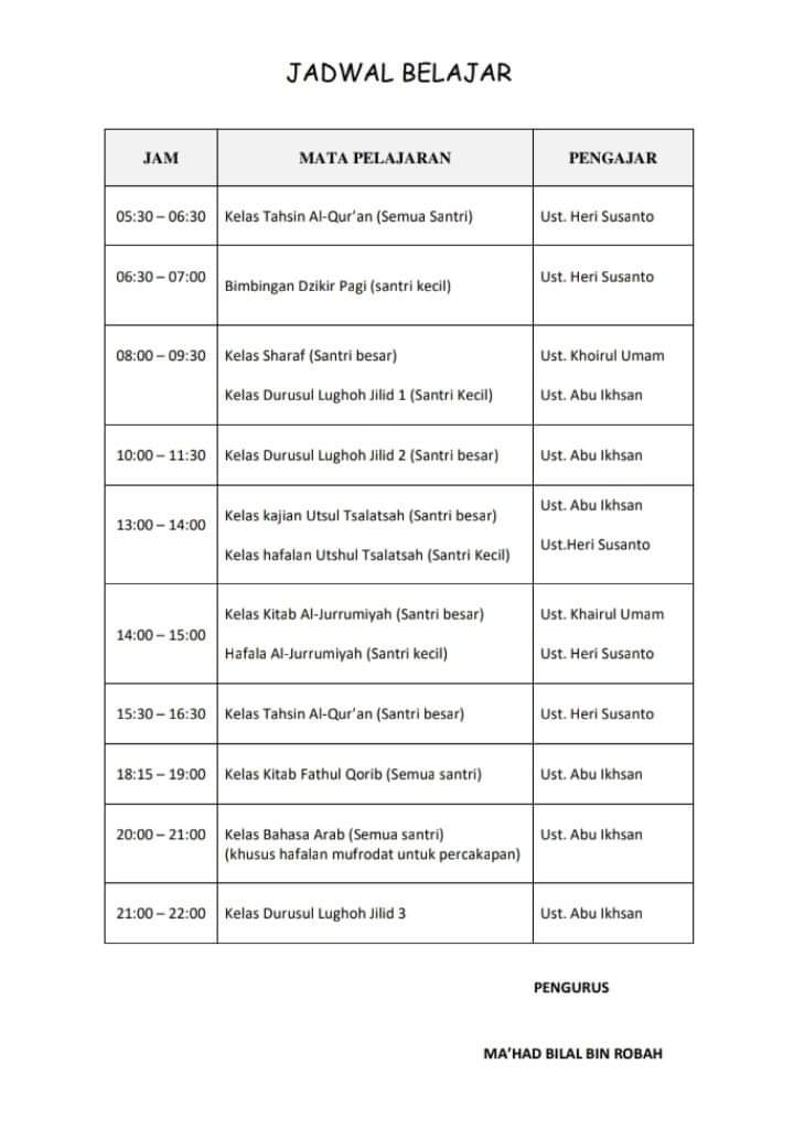 Jadwal Pelajaran Harian